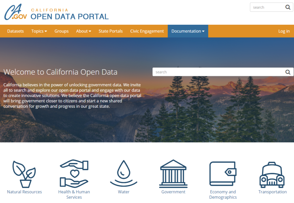 open data portal screenshot