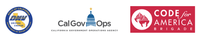 DMV, GovOps, and Code for America Logos